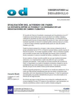 Evaluación del Acuerdo de París, la distancia entre los posible y lo deseable en las negociaciones en cambio climático