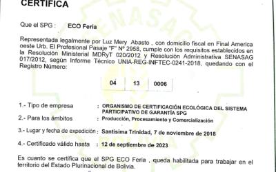 La ecoferia reacredito la certificación SPG para la gestión 2018 – 2023
