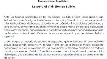 Pronunciamiento Público GTCCJ REspeto al Bien Vivir en Bolivia 2019