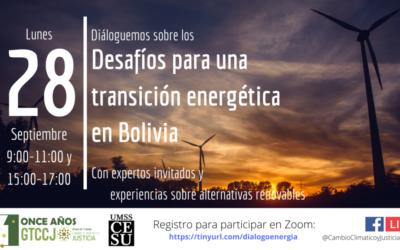 """Invitación a participar en Diálogo """"Desafíos para una transición energética en Bolivia"""""""
